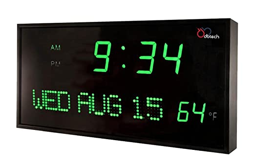 DBTech Big Oversized Red LED Calendar Clock