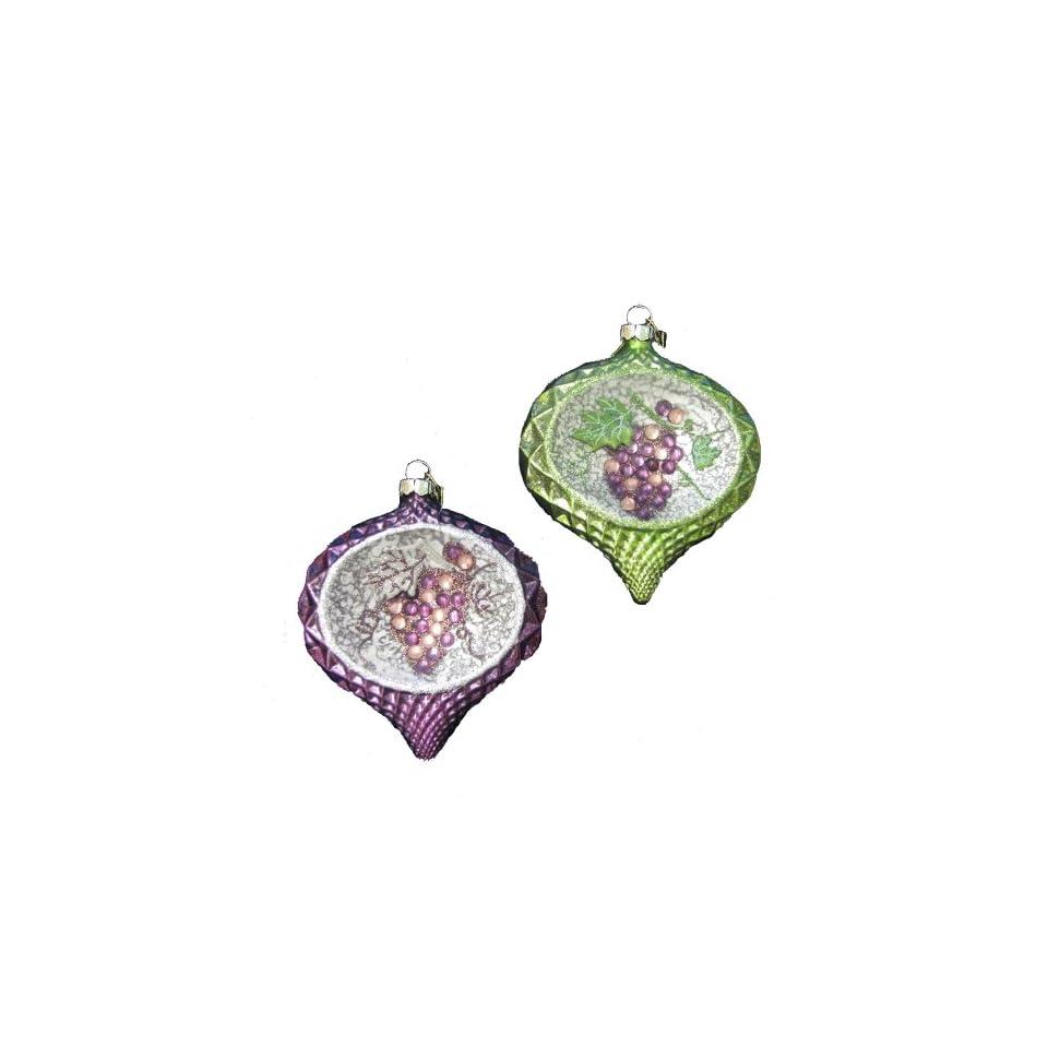 Kurt Adler 5 Glass Onion with Grapes Design Ornament Set of 2