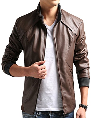 ZSHOW Men's Add Wool Bomber Leather Jacket Ski Moto Leather JacketZSHOW uomini aggiungere lana faux giacca lavata cappotto di pelle