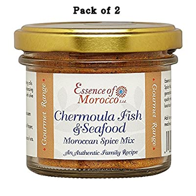 Chermoula Fish & Seafood Moroccan Spice Mix. 84 g /1.48 OZ (Pack of 2 x 42 g jars)