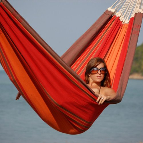 68″ x 101″ Carribico Sizzle Brazilian XXL Double-Size Cotton Hammock