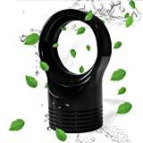 Children Safety,Professional Bladeless Fan YF-TOW Mute Bladeless Stand Fan 10 Inches With No Blade Creative Home Air Conditioner-Quality Warranty (Black)