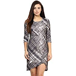 RARE Grey Polyester Spandax Striped Short Dress For Women
