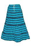 Indiatrendzs Women's Fashion Skirts Blue Printed Long Maxi Skirt