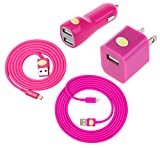 3ft & 6ft Heavy Duty Cables w/Wall & Dual Port Car Charger for iPhone 6S+/6S/6/6+ (Hot Pink)
