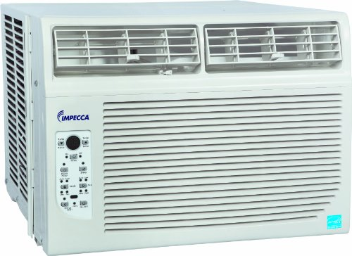 Impecca 10,000 BTU/h Window Air Conditioner with Electronic Controls 10.8 EER it has 3 Cooling Speeds and 3 Fan-Only Speeds, 2-Way Air Direction, 24-Hour Timer, and Auto Restart Includes a Remote control with PMTS