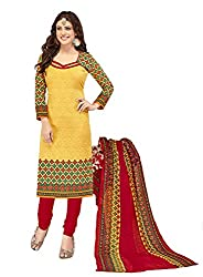 Woman's Yellow Cotton Printed Dress Materials (BGD364_blue_Free size)