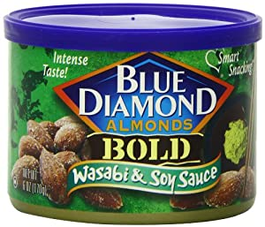 Blue Diamond Almonds,Bold, Wasabi & Soy, 6-Ounce Can (Pack of 6)