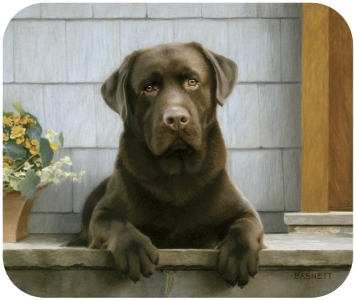 Fiddler's Elbow Chocolate Lab on Porch Mouse Pad