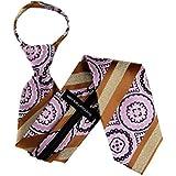 ZIP-11606 - Zipper Pattern Necktie - Bronze Pink Purple
