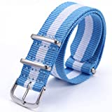 AMPM24 20mm Light Blue & White Men Women Nylon Sport Militray Watch Band Straps WB2003