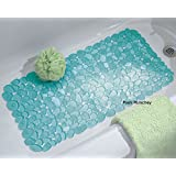 New Extra Long Blue 90 X 40Cm Pebbles Anti Bacterial Non Slip Bath Shower Mat