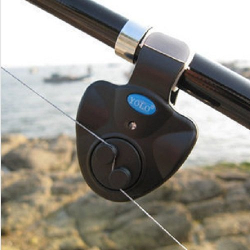 COFFLED® 1pcs LED Electronic Fish Bite Finder Alarm Alert Light On Fishing Rod Outdoor black