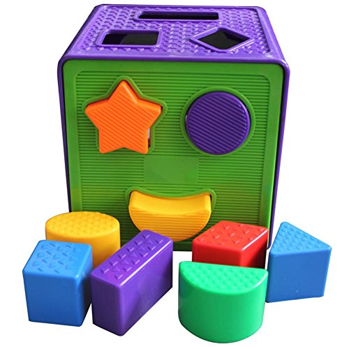 Plastic Square Shape Match Sorting Cube Building Blocks Classic Toys Set for Early Preschool Educational Learning, Christmas Birthday Gift for Toddler Baby Kids Boys and Girls - 1