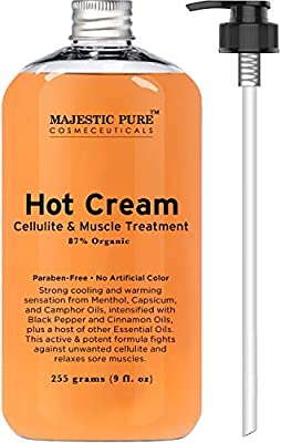 Majestic Pure Anti Cellulite Cream, 87% Organic Fat Burner Cream, 9 Oz - Tight Muscles & Muscle Pain Relief, Cellulite Massager - Hot Cream Soothes, Relaxes, and Tightens Skin