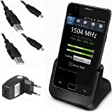 xubix DUAL USB Dock für Samsung Galaxy S2 SII S 2 II i9100 GT-i9100 Dockingstation / Tischladestation / Tischlader mit EXTRA Akkuladefach + 2x USB Datenkabel + USB Ladegerät Netzteil