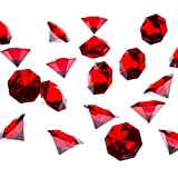 Acrylic Colorful Round Treasure Gemstones for Table Scatter, Vase Fillers, Event, Wedding, Arts & Crafts, Birthday Decorations Favor (36 Pieces) by Super Z Outlet (Red)