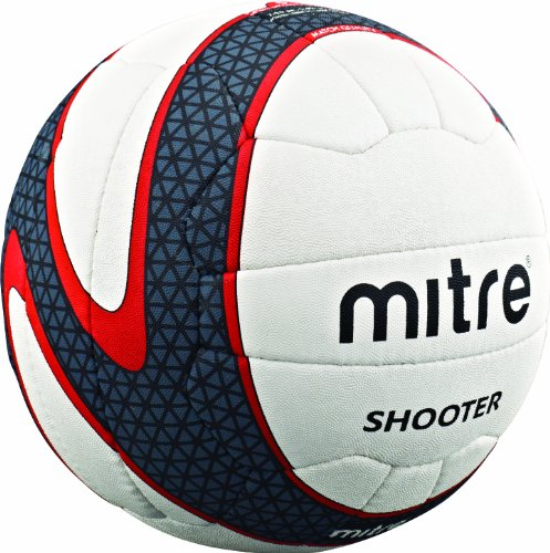 Mitre Shooter NB 18P Match Netball - White/Black/Red, Size 5