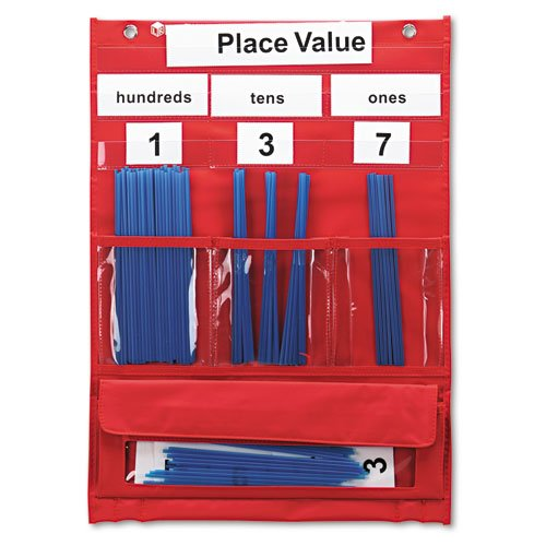 Learning Resources® - Counting and Place Value Pocket Chart with Cards, Straws, 13 x 17 3/4 - Sold As 1 Each - Teach counting, sorting, place value and grouping with this heavy-duty chart.