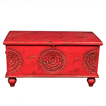 Wanderloot Leela Red Hand-carved Medallion Coffee Table Trunk (India)