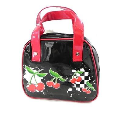 Handbag 'Cerises' black.