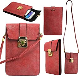 Harryshell(TM) Multipurpose Two Separated Pouches Cell Phone PU Leather Bag Purse for iPhone Samsung Galaxy LG V10 G Stylo Nexus 5X 6P Moto X Play Maxx 2 Htc Desire 626 with Shoulder Strap(red)