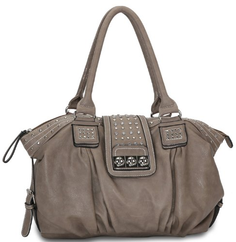 Camel Designer Inspired Metal Studded Soft Leatherette Shopper Hobo Tote Shoulder Bag Satchel Handbag Purse
