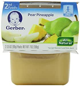Gerber 2nd Foods Pear & Pineapple, 2-Count, 3.5-Ounce Tubs (Pack of 8)
