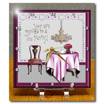 Dc_23878_1 Beverly Turner Invitation Design - Tea Party Invitation Tea Party Room Pink - Desk Clocks - 6X6 Desk Clock