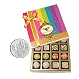 Chocholik Belgium Chocolates - Desert Lovers Chocolate And Truffle Gift Box With 5gm Pure Silver Coin - Gifts...