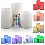 Krevia Real Wax Flameless Candles Set Of 3 LED Candles Plus Remote Control Timer