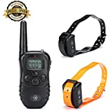 Exclusive Rechargeable Waterproof Training Collar for Dogs-2 High Quality Durable Wireless Collars for Medium and Large FGN Dogs-shocks, Vibrations, Light & Safe Beeps - Remote Control Operations (2 collars)