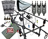 Deluxe Carp Fishing Set up Full carbon Rods 10 BB Reels Cross Pod + Tackle NGT