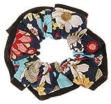 L. Erickson USA Edged Scrunchie - Bold Blooms Celebration/Black