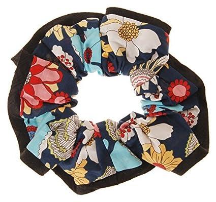 L.-Erickson-USA-Edged-Scrunchie-Bold-Blooms-Celebration/Black