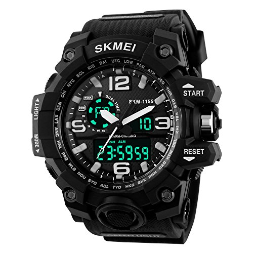 Aposon-Mens-Large-Dual-Dial-Analog-Digital-Quartz-lectronic-Sport-Watch-Multifunction-Two-Timezone-24H-Military-Time-Waterproof-Casual-Back-Light-164FT-50M-Water-Resistant-Calendar-Day-Date-Black