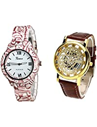 COSMIC COMBO WATCH- COLORFUL STRAP ANALOG WATCH FOR WOMEN AND BROWN ANALOG SKELETON WATCH FOR MEN - B01CJCA830