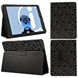 ITALKonline PADWEAR BLACK BLING DIAMOND LEAF FLOWER Multi Function Multi Angle Luxury Executive Wallet Stand Cover Typing Case with Magnetic Sleep Wake Sensor Feature For Apple iPad Air (2013) (Wi-Fi and Wi-Fi + 3G) 16GB 32GB 64GB 128GB