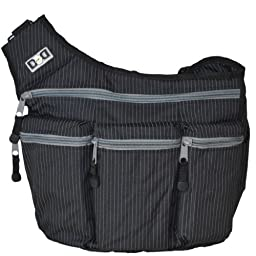 Diaper Dude Messenger I Bag - Black Pinstripe