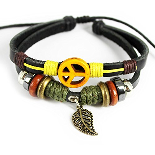 November's Chopin (TM) Unique Leaf Pendant Ring & Plane Button Leather Adjustable Wrap Bracelet (Yellow)