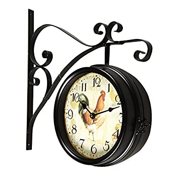 Adeco CK0001 Antique Vintage Decorative Round Iron Double Wall Clock Rooster, Black/Brown