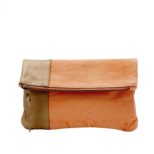 Clutch, small, canvas, coral/camel W23xH15coral/camel - FEB. DEL.