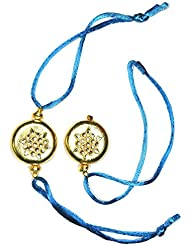 Khushigems Kundan Work With Golden Tone Blue Thread Rakhi Pairs Handmade Jewelry A1050