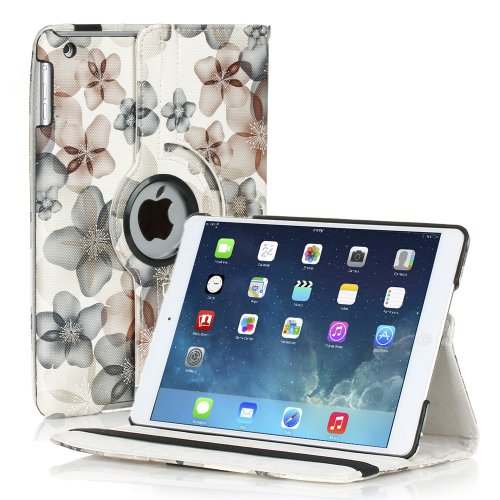 TNP iPad Mini Rotating Case (Floral Black) 360 Degree Stand Smart Cover Flip Protective PU Leather For iPad Mini 3, iPad Mini 2 & 1, Multi Viewing Angles, Auto Sleep & Wake Feature & Stylus Holder (Sell Ipad Mini compare prices)