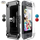 Nintendo Switch Case,Renrencoo Premium Crystal Clear Case for Nintendo Switch with Tempered Glass Screen Protector Switch Dock Friendly [Against Bumps] and 4 Thumb Grips Caps 2017 release