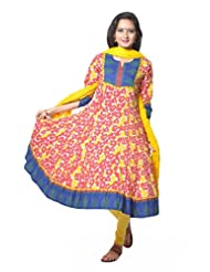 Red And Yellow Flower Printed Cotton Anarkali Suit