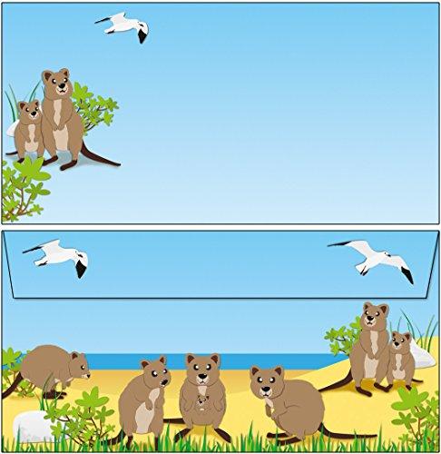 Briefumschläge niedliche Quokkas - Känguru 20 Stück Kuverts DIN lang ohne Fenster 61091