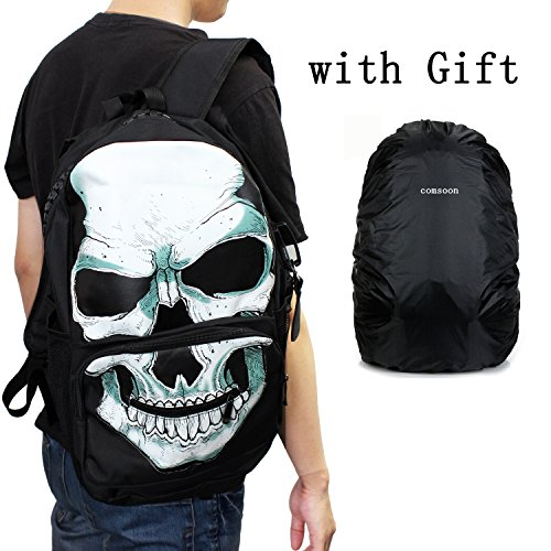 Comsoon Creatived Fashion Skull Backpacks Leisure Artist's Backpacks (White & Black)