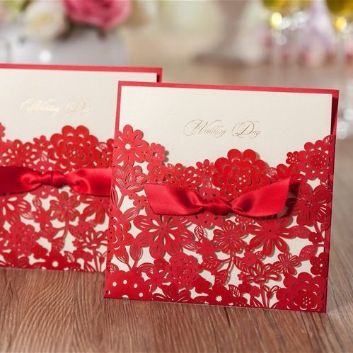 Wishmade 50x Red Laser Cut Wedding Invitation Cards with Hollow Flowers and Bowknot Paper Cardstock for Bridal Shower Wedding(Set of 50pcs)CW5086