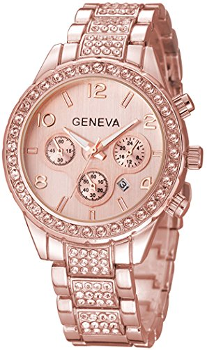 Fanmis Luxury Iced Out Pave Floating Crystal Quartz Calendar Rose Gold Stainless Steel Watch (Gold Watch With Crystals compare prices)